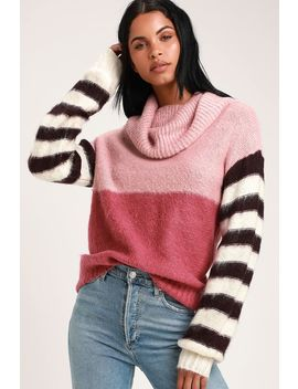 Sidni Pink Multi Stripe Cowl Neck Sweater by Lost Ink