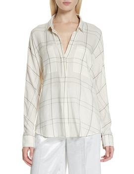 Bar Plaid Cotton Blend Popover Blouse by Vince