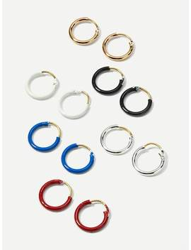 Slim Hoop Earrings 6pairs by Sheinside