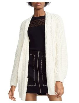 Mouffle Cable Knit Cardigan by Maje
