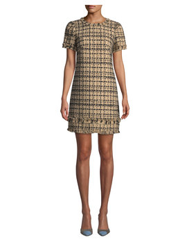 Bicolor Tweed Crewneck Short Sleeve Mini Dress W/ Fringe Trim by Kate Spade New York