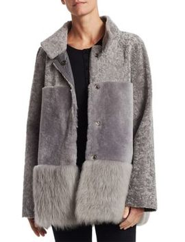 Shearling Stand Collar Peplum Jacket by Michael Kors