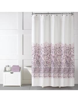 Saturday Knight Limited Elegance Polyester Purple Patterned Shower Curtain by Lowe's