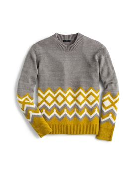 Geometric Fair Isle Crewneck Sweater by J.Crew