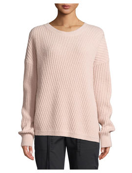 Side Slit Wool Crewneck Pullover Sweater by Vince