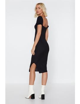 Puff Sleeve Ribbed Midi Dress by Nasty Gal