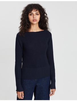 Jersey Roll Boatneck Jumper by Theory