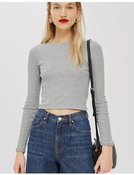 Long Sleeve Scallop T Shirt by Topshop