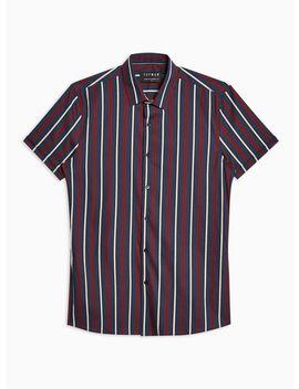 Navy And Burgundy Stripe Stretch Skinny Shirt by Topman