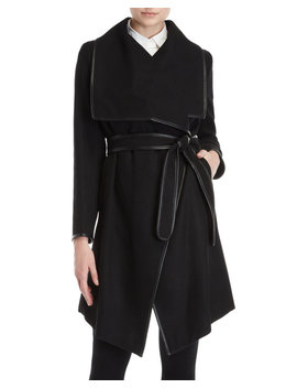 Faux Leather Trimmed Belted Coat by Dkny