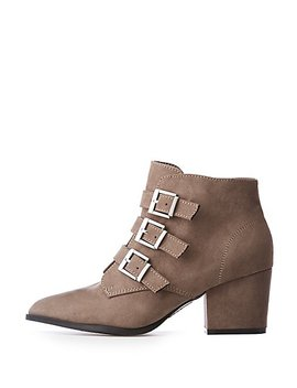 Bamboo Buckle Ankle Booties by Charlotte Russe