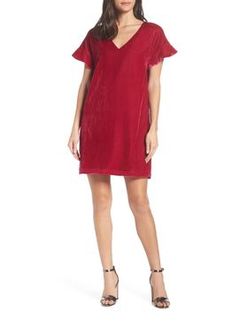 V Neck Velvet Shift Dress by Charles Henry