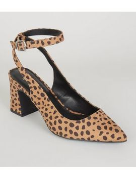 Wide Fit Brown Leopard Print Ankle Strap Courts by New Look