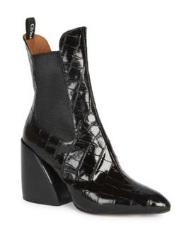 Chelsea Croc Embossed Leather Booties by Chloé