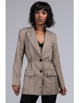 Charmed Im Sure Plaid Cinched Blazer by Akira
