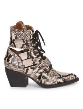 Rylee Python Print Lace Up Boots by Chloé