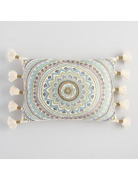 Cool Medallion Embroidered Tassel Lumbar Pillow by World Market