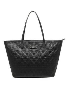 New York Penn Place Margareta Embossed Shopper Black Leather Tote by Kate Spade