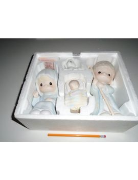 "1987 Precious Moments O Come Let Us Adore Him  9"" 4 Piece Nativity Set New by Enesco Precious Moments"
