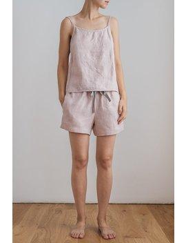 Linen Camisole Top / Linen Cami Top / Sleepwear Set For Woman / Linen Pajama Set / Nightwear / Linen Sleepwear Shorts / Cami Tank Top by Etsy