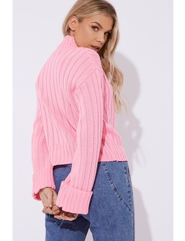 Lene Pink Chunky Knit High Neck Jumper by In The Style