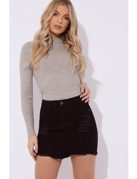 Lashondia Black Stretch Denim Skirt by In The Style