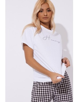 Laura Jade Hunny White Slogan Tee by In The Style