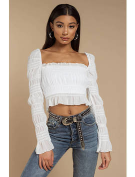 Cora White Smocked Georgette &Amp; Sequins Crop Top by Tobi