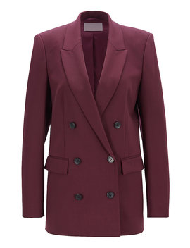 Relaxed Fit Double Breasted Blazer In Italian Stretch Virgin Wool by Boss