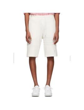 White Chunky Honeycomb Piqué 4 Bar Shorts by Thom Browne