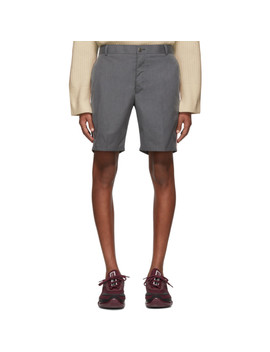 Grey Typewriter Unconstructed Shorts by Thom Browne