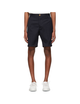 Navy Stripe Unconstructed Shorts by Thom Browne