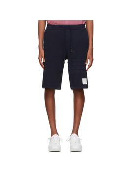 Navy Chunky Honeycomb Piqué 4 Bar Shorts by Thom Browne