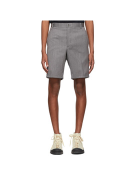 Grey Stripe Unconstructed Shorts by Thom Browne