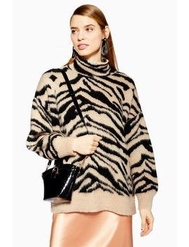 Moving Zebra Print Funnel Jumper by Topshop