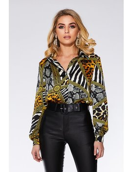 Gold Scarf Print Long Sleeve Shirt by Quiz