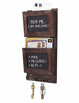 Rustic 2 Slot Mail Sorter Organizer For Wall With Chalkboard Surface & 3 Double Key Hooks   Wooden Wall Mount Mail Holder Organizer – Wall Décor For Entryway Made Of Paulownia Wood   Torched Brown by Comfify
