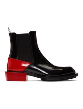 Black & Red Half Chelsea Boots by Alexander Mcqueen