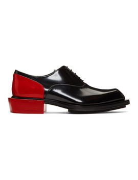 Black & Red Leather Derbys by Alexander Mcqueen