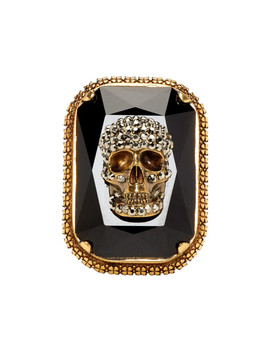 Gold & Black Skull Jewelled Ring by Alexander Mcqueen