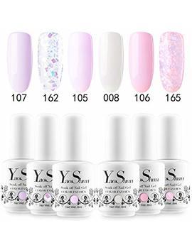 Yao Shun Gel Nail Polish Set   Pink & Glitters Series 6 Colors Nail Art Gift Box, Soak Off Nail Gel Uv Led Gel Polish Kit 8ml # 01 by Yao Shun