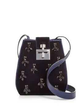 Houston Embellished Velvet Bucket Bag by Oscar De La Renta