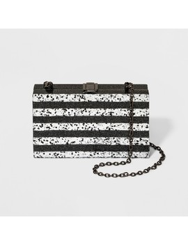 Rectangle Minaudiere Clutch   A New Day™ Black/Silver by A New Day