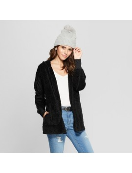 Women's Sherpa Cozy Cardigan   Almost Famous (Juniors') Black by Almost Famous