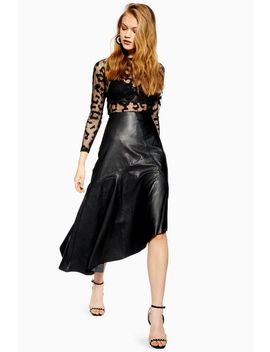 Leather Asymmetric Midi Skirt by Topshop