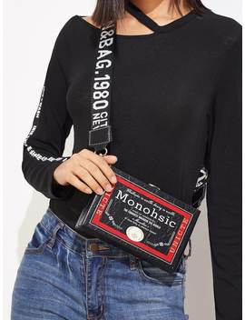 Slogan Print Crossbody Bag With Guitar Strap by Romwe
