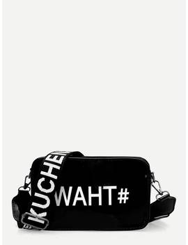 Letter Print Bag With Slogan Strap by Romwe