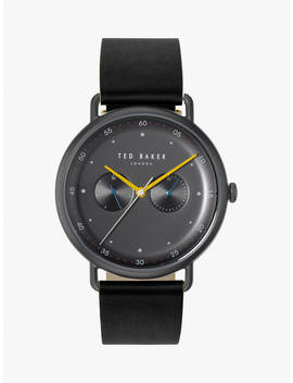 Ted Baker Te50520003 Men's George Leather Strap Watch, Black by Ted Baker