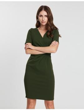 Short Sleeve Wrap Pencil Dress by Dorothy Perkins