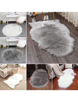 Fluffy Plain Sheepskin Rug Soft Faux Fur Shaggy Area Rugs Room Mats Thick Wool by Ebay Seller